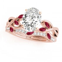 Twisted Oval Rubies & Diamonds Bridal Sets 18k Rose Gold (1.23ct)