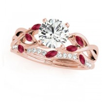 Twisted Round Rubies & Moissanites Bridal Sets 18k Rose Gold (1.73ct)