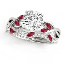 Twisted Cushion Rubies & Diamonds Bridal Sets 18k White Gold (1.23ct)