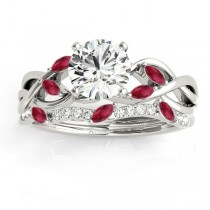 Marquise Ruby & Diamond Bridal Set Setting 18k White Gold (0.43ct)