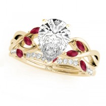 Twisted Pear Rubies & Diamonds Bridal Sets 18k Yellow Gold (1.23ct)