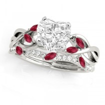 Twisted Heart Rubies & Diamonds Bridal Sets Palladium (1.23ct)
