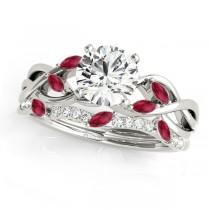 Twisted Round Rubies & Diamonds Bridal Sets Palladium (0.73ct)