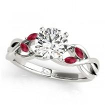 Twisted Round Rubies & Diamonds Bridal Sets Platinum (1.23ct)