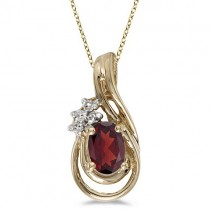 Oval Garnet & Diamond Teardrop Pendant Necklace 14k Yellow Gold