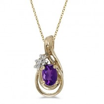 Oval Amethyst & Diamond Teardrop Pendant Necklace 14k Yellow Gold