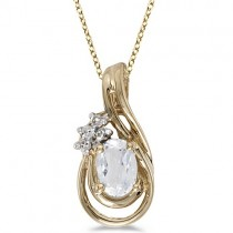 Oval White Topaz & Diamond Teardrop Pendant Necklace 14k Yellow Gold