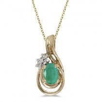 Oval Emerald & Diamond Teardrop Pendant Necklace 14k Yellow Gold