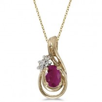 Oval Ruby & Diamond Teardrop Pendant Necklace 14k Yellow Gold