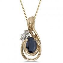 Blue Sapphire & Diamond Teardrop Pendant Necklace 14k Yellow Gold