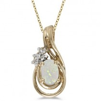 Oval Opal & Diamond Teardrop Pendant Necklace 14k Yellow Gold