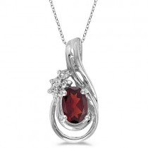 Oval Garnet & Diamond Teardrop Pendant Necklace 14k White Gold