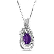 Oval Amethyst & Diamond Teardrop Pendant Necklace 14k White Gold
