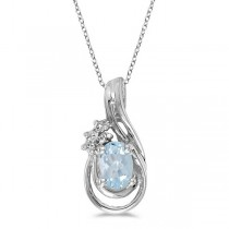 Oval Aquamarine & Diamond Teardrop Pendant Necklace 14k White Gold