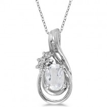 Oval White Topaz & Diamond Teardrop Pendant Necklace 14k White Gold