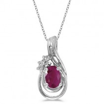 Oval Ruby & Diamond Teardrop Pendant Necklace 14k White Gold