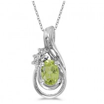Oval Peridot & Diamond Teardrop Pendant Necklace 14k White Gold