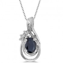 Blue Sapphire & Diamond Teardrop Pendant Necklace 14k White Gold