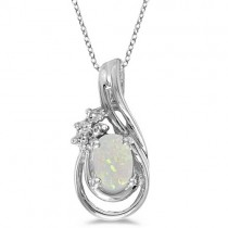 Oval Opal & Diamond Teardrop Pendant Necklace 14k White Gold