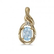 Oval Aquamarine & Diamond Pendant Necklace 14k Yellow Gold (0.40ctw)