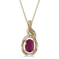 Oval Ruby & Diamond Pendant Necklace 14k Yellow Gold (0.60ctw)