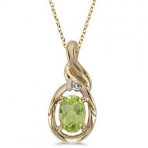 Oval Peridot & Diamond Pendant Necklace 14k Yellow Gold (0.55ctw)