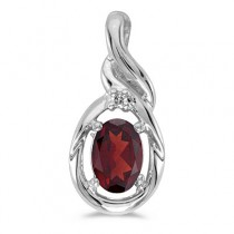 Oval Garnet & Diamond Pendant Necklace 14k White Gold (0.55ct)