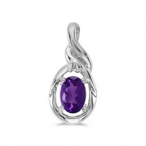 Oval Amethyst & Diamond Pendant Necklace 14k White Gold (0.45ct)