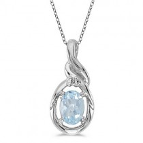Oval Aquamarine & Diamond Pendant Necklace 14k White Gold (0.40ct)