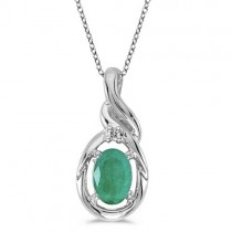 Oval Emerald & Diamond Pendant Necklace 14k White Gold (0.45ct)