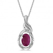 Oval Ruby & Diamond Pendant Necklace 14k White Gold (0.60ct)