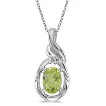 Oval Peridot & Diamond Pendant Necklace 14k White Gold (0.55ct)