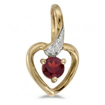 Garnet and Diamond Heart Pendant Necklace 14k Yellow Gold