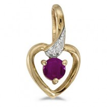 Ruby and Diamond Heart Pendant Necklace 14k Yellow Gold