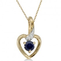 Blue Sapphire and Diamond Heart Pendant Necklace 14k Yellow Gold