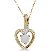 Opal and Diamond Heart Pendant Necklace 14k Yellow Gold