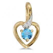 Blue Topaz and Diamond Heart Pendant Necklace 14k Yellow Gold