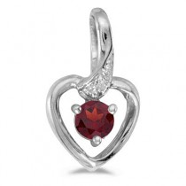 Garnet and Diamond Heart Pendant Necklace 14k White Gold