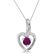 Ruby and Diamond Heart Pendant Necklace 14k White Gold