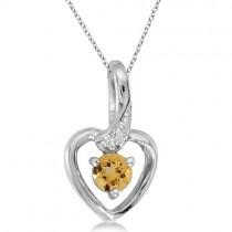 Round Citrine and Diamond Heart Pendant Necklace 14k White Gold
