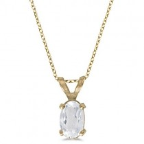 Oval White Topaz Solitaire Pendant Necklace 14K Yellow Gold (0.57ct)