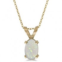 Oval Opal Solitaire Pendant Necklace in 14K Yellow Gold (0.27ct)