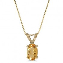 Oval Citrine Solitaire Pendant Necklace in 14K Yellow Gold (0.45ct)