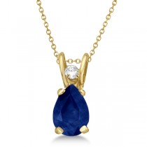 Pear Blue Sapphire and Diamond Pendant 14K Yellow Gold (0.63tcw)