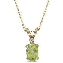 Peridot & Diamond Solitaire Filagree Pendant 14K Yellow Gold (0.55ct)