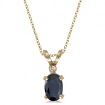 Sapphire & Diamond Solitaire Filagree Pendant 14K Yellow Gold (0.55ct)