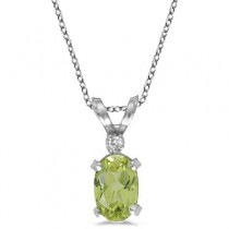 Peridot & Diamond Solitaire Filagree Pendant 14K White Gold (0.55ct)