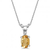 Oval Citrine and Diamond Solitaire Pendant in 14K White Gold (0.45ct)