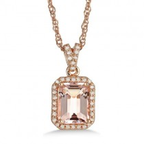 Morganite & Diamond Pendant 14k Rose over Sterling Silver (2.26ct)
