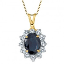 Blue Sapphire & Diamond Accented Pendant 14k Yellow Gold (1.70ctw)